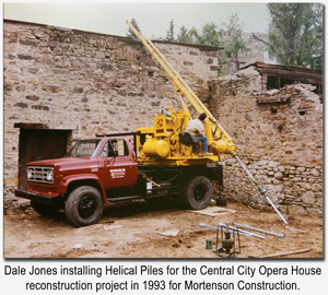 Dale Jones installing Helical Piles in Central City, Colorado