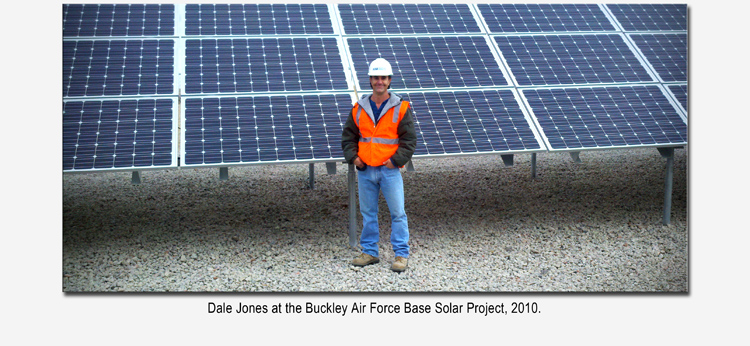 Dale Jones standing in front the completed Solar Helical Pile Foundation project at Buckley Air Force Base.