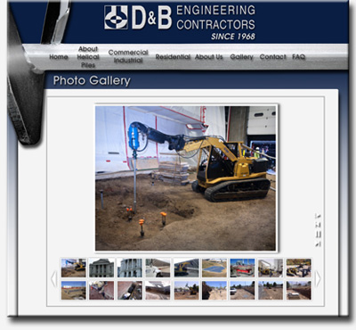 D&B Engineering Contractors Photo Gallery showing installation of Helical Piles/Helical Piers, Underpinning, Tiebacks and more.
